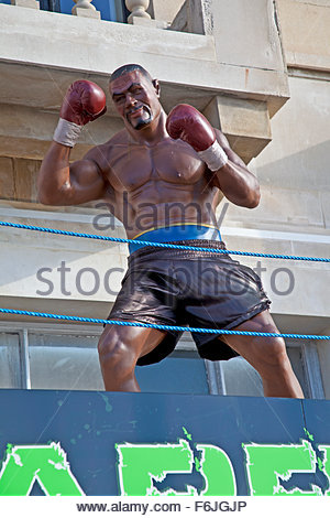 Statue of American boxer Mike Tyson on public display in Torquay, Devon, England UK - Stock Photo