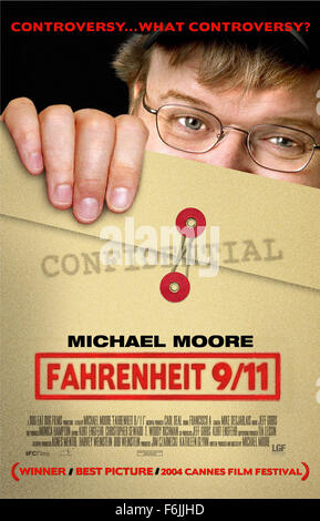 RELEASE DATE: June 25, 2004. MOVIE TITLE: Fahrenheit 9/11. STUDIO: Miramax Films. PLOT: Michael Moore's view on - Stock Photo