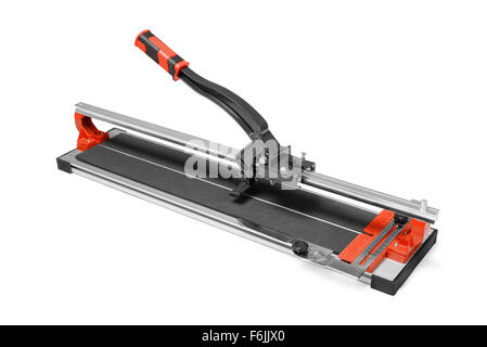 Manual tile cutter isoplated on white - Stock Photo