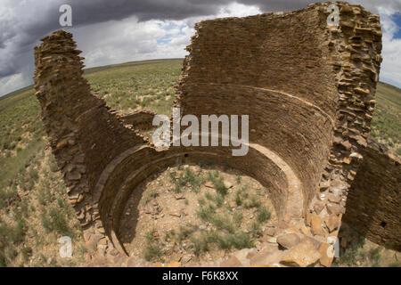 Ruins of the Kin Kilzhin Kiva, Chaco Canyon. - Stock Photo
