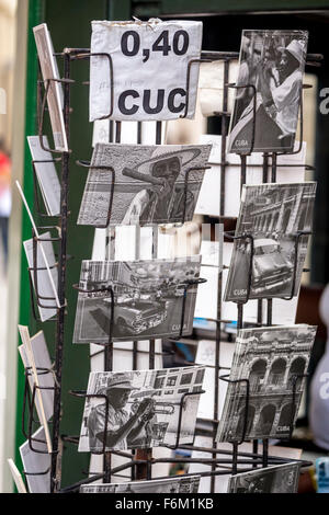 Postcard stands with postcards of Ernesto Che Guevara,, in Old Havana, souvenirs, La Habana, Cuba, Caribbean, North - Stock Photo