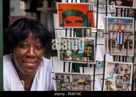 Kiosk saleswoman, Cuban, Postcard stands with postcards of Ernesto Che Guevara, souvenirs, memories, La Habana, - Stock Photo