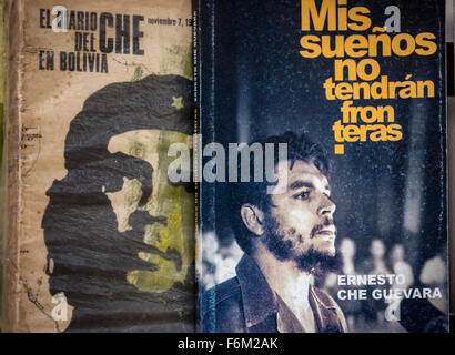 Antiquarian, used books on Ernesto Che Guevara and Fidel Castro at the flea market in the streets of Old Havana, - Stock Photo