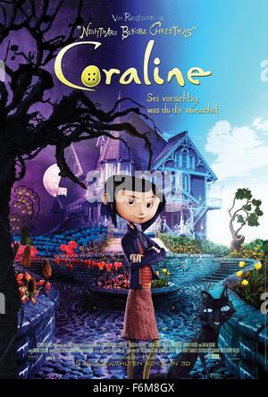 RELEASE DATE: 6 February 2009. TITLE: Coraline. STUDIO: Focus Features. PLOT: An adventurous girl finds another - Stock Photo