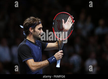 London, UK. 17th Nov, 2015. Roger Federer of Switzerland celebrates after the match against Novak Djokovic of Serbia - Stock Photo