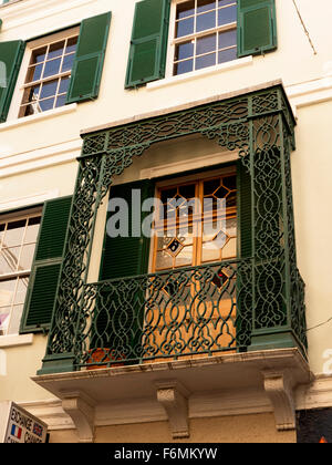 Traditional Balcony on the Rock of Gibraltar at the entrance to the Mediterranean Sea - Stock Photo