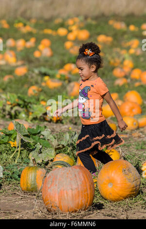 Self-confident young girl running through a pumpkin patch at The Gorge White House Fruit Stand near Hood River, - Stock Photo