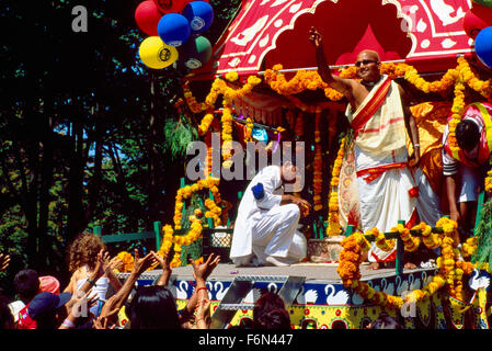 Hare Krishna Chariot Parade and Festival of India, Vancouver, BC, British Columbia, Canada - Devotees following - Stock Photo