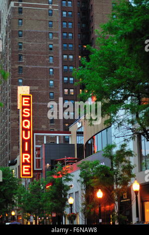 The remnant marquee from the once-famous Esquire Theatre in Chicago is virtually all that is left of the former - Stock Photo
