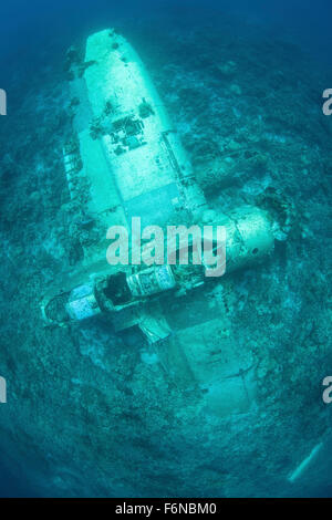 A Japanese Jake seaplane, shot down during World War II, lies on the seafloor of Palau's lagoon. Many planes and - Stock Photo