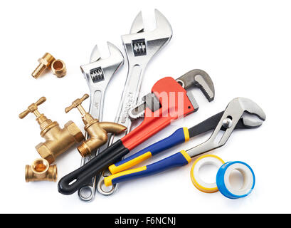 various type of plumbing tools on white background - Stock Photo