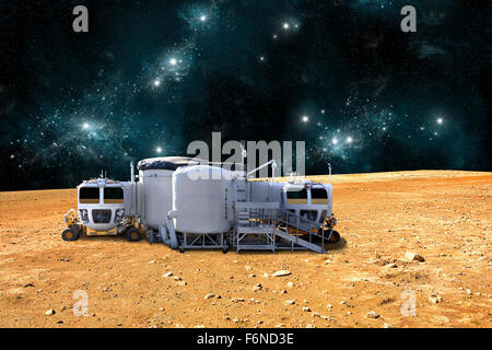 An artist's depiction of a planetary base on a barren world. The small colony is equipped with two rovers for astronauts - Stock Photo