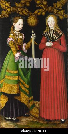 Lucas Cranach the Elder - Saints Genevieve and Apollonia - Stock Photo