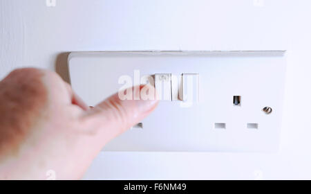 British standard 3 pin plugs and sockets for domestic household use - Stock Photo