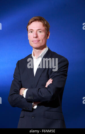 Edinburgh International Book Festival 2013 portrait of James Davies at Charlotte Square Garden. - Stock Photo