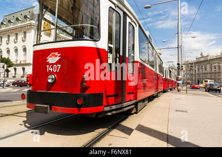 Tramway Perspective in Vienna - Stock Photo