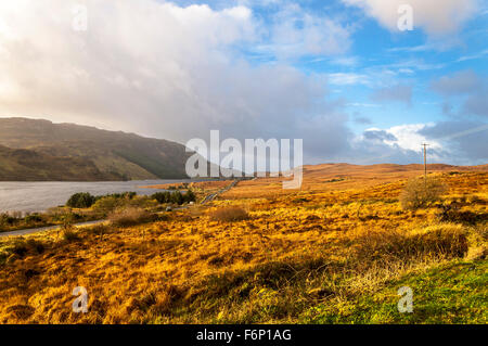 Lough Finn at Fintown, County Donegal, Ireland. The landscape in November. - Stock Photo