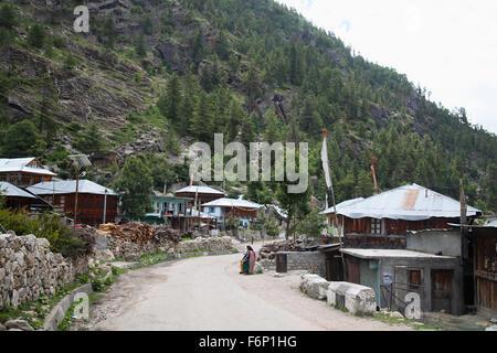 SPITI VALLEY, View of Batseri Village while going to Rakchham Village, Himachal Pradesh, India - Stock Photo