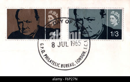 Philately, United Kingdom, 1965 Sir Winston Churchill commemorative Stamps, London Philatelic Bureau First Day of - Stock Photo