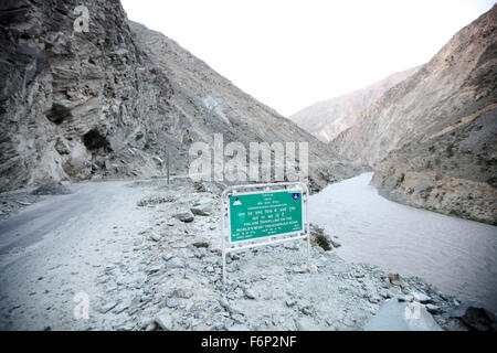 SPITI VALLEY - World's most treacherous road Sangla to Nako Sangla valley is situated in Himachal Pradesh in India - Stock Photo
