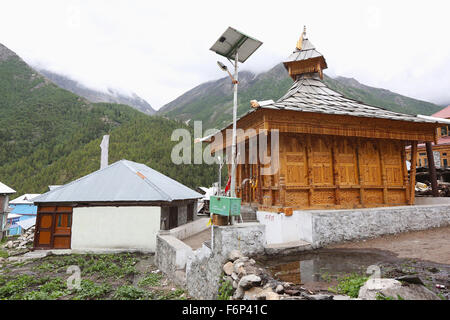 SPITI VALLEY - View of Mata Temple Chitkul Village, Kinnaur district, Himachal Pradesh , India Last inhabited village - Stock Photo