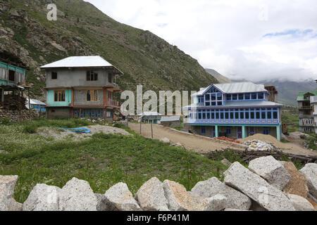 SPITI VALLEY - Chitkul Village Last inhabited village near the Indo-China border Himachal Pradesh , India - Stock Photo