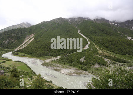 SPITI VALLEY - Views of Chitkul village While going to Rakchham Village in Sangla & Rakchham valley in Himachal - Stock Photo