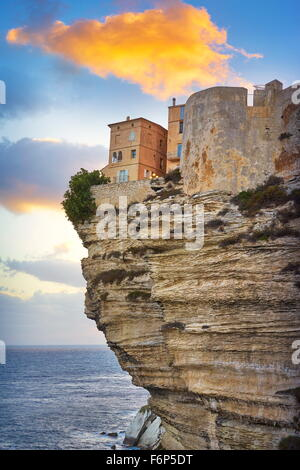 Bonifacio at sunset time, the limestone cliff, Corsica Island, France - Stock Photo