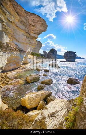 The limestone cliff, Bonifacio, South Coast of Corsica Island, France - Stock Photo