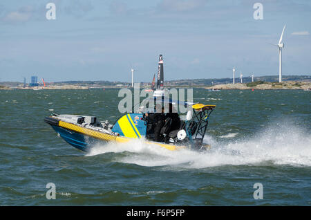 a very fast boat from coastguard sweden out to the sea - Stock Photo