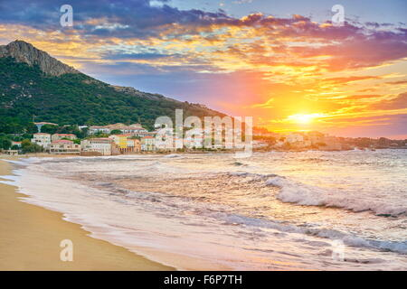 Algajola Beach and Village, Cap Corse, Corsica Island, France