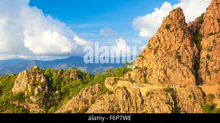 Les Calanches, volcanic red rocks formations mountains, Golfe de Porto, Piana, Corsica Island, France, UNESCO - Stock Photo