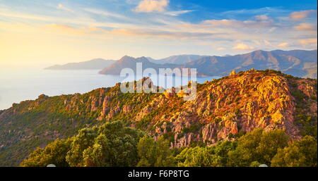 Les Calanches, volcanic red rocks formations mountains, Piana, Corsica Island, France, UNESCO - Stock Photo