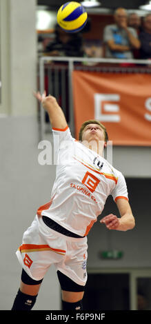 Karlovy Vary, Czech Republic. 18th Nov, 2015. Donovan Dzavoronok of CEZ during the 1st round match of the CEV Volleyball - Stock Photo