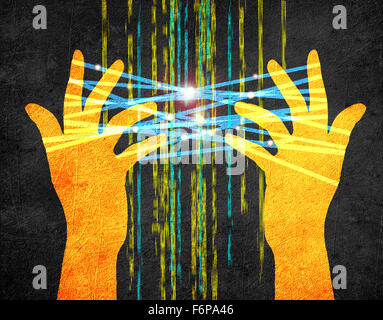 Internet concept digital illustration with hands - Stock Photo
