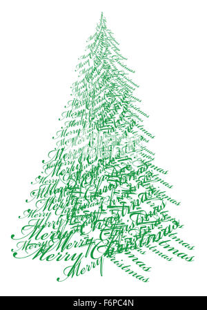 Abstract Christmas tree with text Merry Christmas, vector illustration - Stock Photo