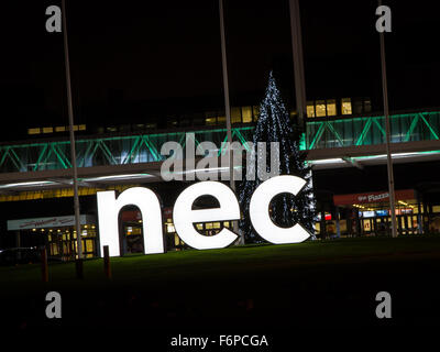 NEC sign with Christmas tree at main entrance In Birmingham UK - Stock Photo