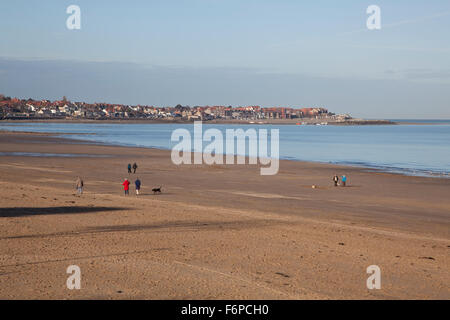 View of Rhos on Sea across the sandy beach at Colwyn Bay in North Wales - Stock Photo