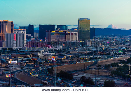 Interstate 15 with the Strip behind, Las Vegas, Nevada USA. - Stock Photo