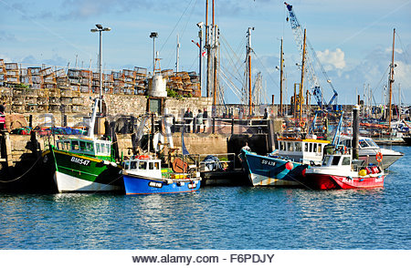 Fishing boats lined up in Brixham Harbour, Torbay, Devon - Stock Photo
