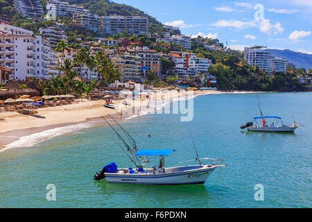 Beach at Zona Romantica, old town of Puerto Vallarta, Mexico - Stock Photo