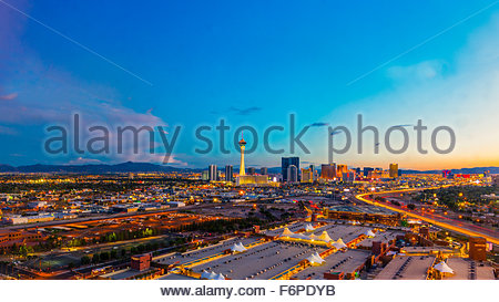 Panoramic view of the Stratosphere Casino Hotel & Tower (on left) and The Strip and Interstate 15 (on right ), Las - Stock Photo