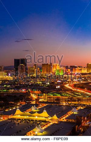 The Strip (Las Vegas Boulevard) and Interstate 15 (on right ), Las Vegas, Nevada USA. - Stock Photo