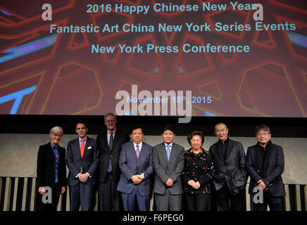 New York, USA. 18th Nov, 2015. Guests attend the press conference of 2016 Happy Chinese New Year: Fantastic Art - Stock Photo