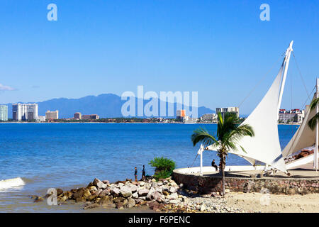 Bay of Banderas from the promenade and boardwalk at El centro district of Puerto Vallarta, Mexico with the Sierra - Stock Photo
