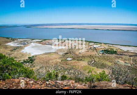 Australia, Western Australia, Kimberley Region, Wyndham, Cambridge Gulf, view of Wyndham Port from West Bastion - Stock Photo