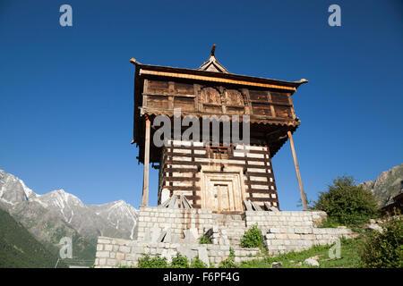 Buddhist Temple Chitkul at the last inhabited village on the Indo-China border Himachal Pradesh, Northern India - Stock Photo