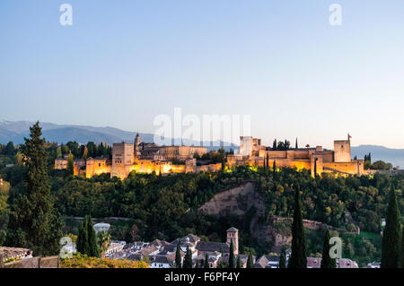 Alhambra palace overview at sunset. Granada, Andalusia, Spain - Stock Photo
