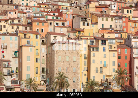 Colorful houses facades in Menton town, Provence, France - Stock Photo