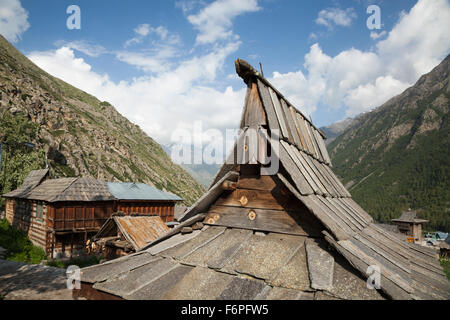 The village of Chitkul at the last inhabited village on the Indo-China border Himachal Pradesh, Northern India - Stock Photo